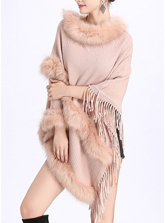 Solid Color Cold weather Artificial Wool Poncho