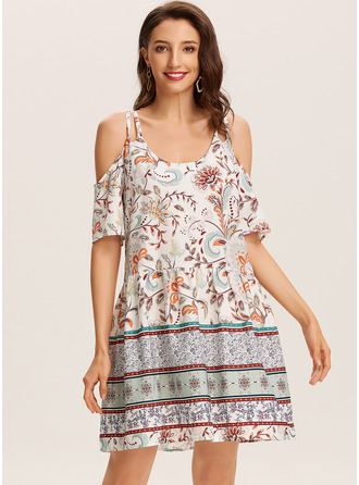 Floral Print Shift Cold Shoulder Sleeve Short Sleeves Mini Casual Vacation Dresses