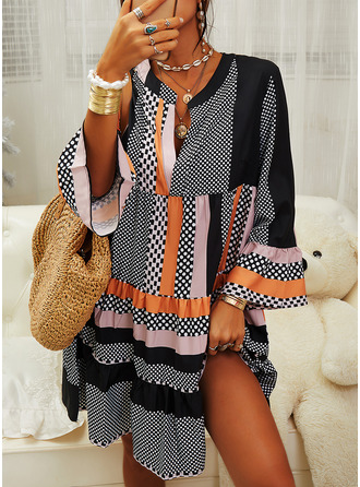 PolkaDot Striped Shift Long Sleeves Midi Casual Tunic Dresses
