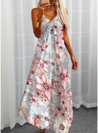 Floral Print Shift Sleeveless Maxi Casual Vacation Type Dresses