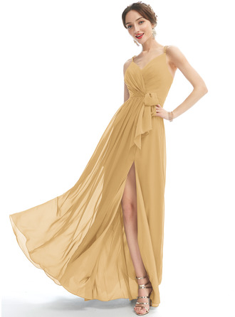A-Line V-neck Floor-Length Bridesmaid Dress With Ruffle Beading Split Front