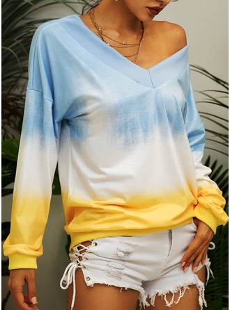 Tie Dye One Shoulder V-Neck Long Sleeves Casual T-shirt