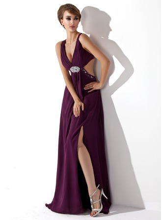 A-Line/Princess V-neck Sweep Train Chiffon Evening Dress With Ruffle Beading Split Front