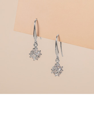 Ladies' Exquisite 925 Sterling Silver Cubic Zirconia Earrings For Bridesmaid/For Friends