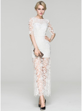 Sheath/Column Scoop Neck Ankle-Length Lace Cocktail Dress With Split Front