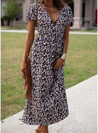 Floral Print Shift Short Sleeves Maxi Casual Dresses