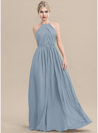 Scoop Neck Dusty Blue Chiffon Dresses