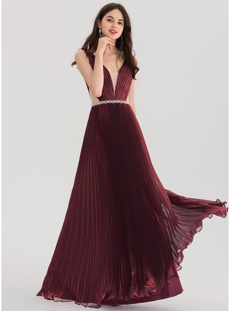 A-Line/Princess V-neck Floor-Length voile Prom Dresses With Beading Pleated