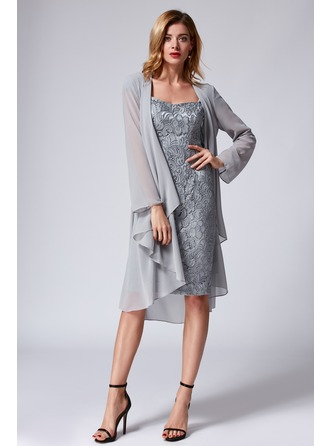 Sheath/Column Square Neckline Knee-Length Cocktail Dress