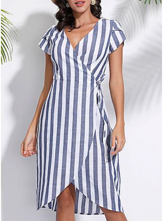 Striped A-line Short Sleeves Asymmetrical Casual Elegant Wrap Dresses