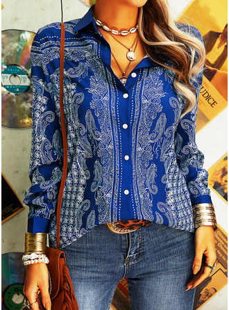 Print Lapel Long Sleeves Button Up Casual Shirt Blouses (1003250871)