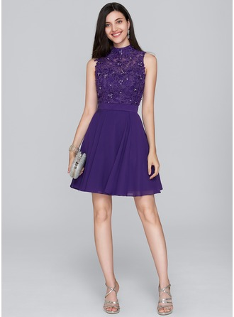 A-Line/Princess High Neck Short/Mini Chiffon Cocktail Dress With Beading Sequins