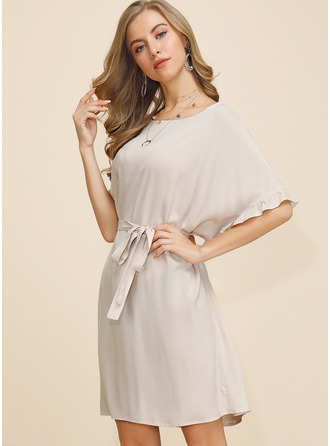 Above Knee Round Neck Polyester Solid Short Sleeves/Batwing Sleeves Fashion Dresses
