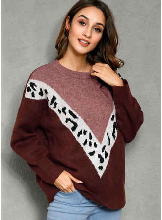 Color Block Animal Print Cable-knit Polyester Round Neck Pullovers Sweaters