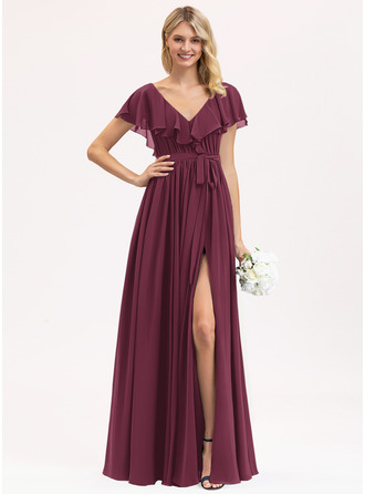 A-Line V-neck Floor-Length Chiffon Bridesmaid Dress With Bow(s) Split Front Cascading Ruffles