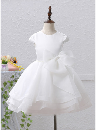 A-Line/Princess Knee-length Flower Girl Dress - Organza/Satin Sleeveless Scoop Neck With Beading/Bow(s)