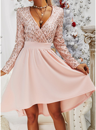 Sequins A-line Long Sleeves Midi Party Elegant Skater Dresses