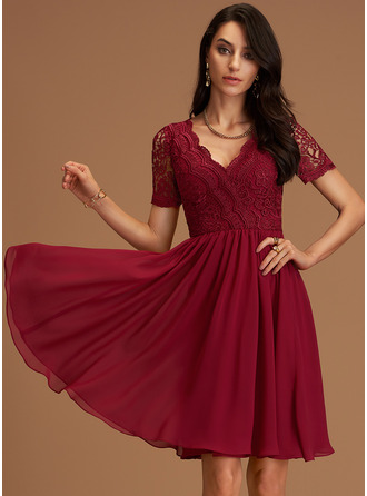 Lace V-Neck Short Sleeves Midi Dresses