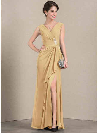 A-Line/Princess V-neck Floor-Length Chiffon Mother of the Bride Dress With Beading Split Front Cascading Ruffles