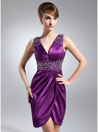 Sheath/Column V-neck Knee-Length Charmeuse Mother of the Bride Dress With Ruffle Beading