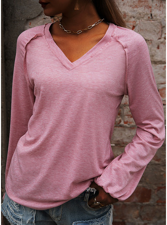 Solid V-Neck Long Sleeves Basic Casual T-shirt (1003251480)