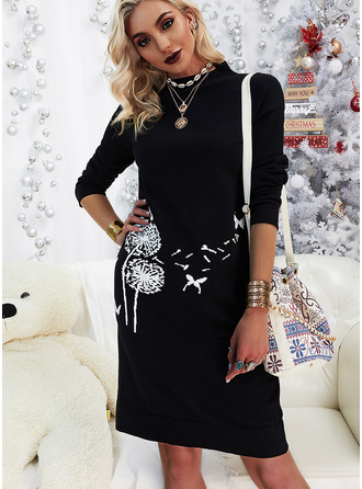 Animal Print Shift Long Sleeves Midi Casual Tunic Dresses