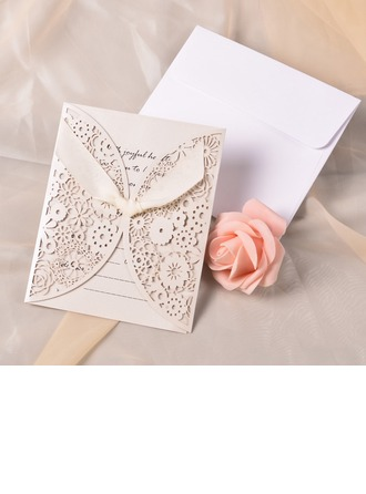 Klasik Stil Gate-Katlama Invitation Cards Ile Saten Kurdele