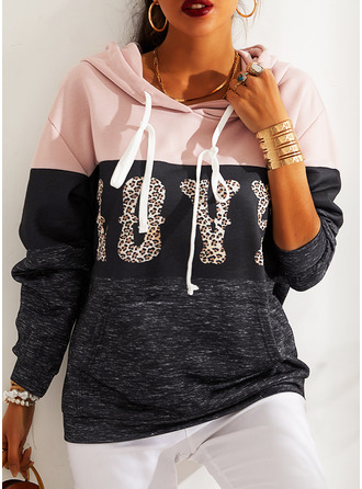 Color Block Leopard Figure Long Sleeves Hoodie