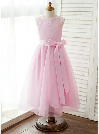 A-Line/Princess Tea-length Flower Girl Dress - Satin/Tulle/Lace Sleeveless Scoop Neck With Detachable Lace/Sash/Appliques