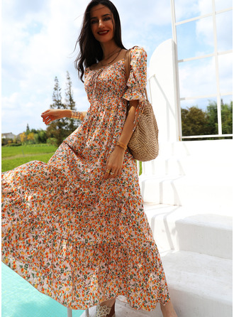 Floral Print A-line Puff Sleeves Short Sleeves Maxi Casual Vacation Skater Dresses