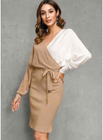 V neck Polyester Long Sleeves Color Block/Chunky knit Sweater Dress Fashion Dresses
