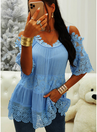 Lace Solid Cold Shoulder 3/4 Sleeves Casual Blouses (1003254016)