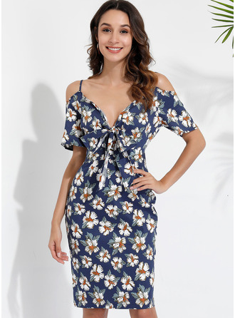 Floral Print Sheath Cold Shoulder Sleeve Midi Casual Dresses
