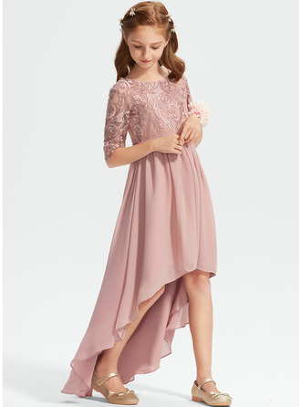 A-Line Scoop Neck Asymmetrical Chiffon Lace Junior Bridesmaid Dress