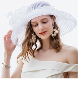 Ladies' Glamourous/Simple Polyester With Feather Beach/Sun Hats