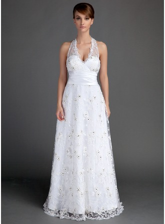 A-Line/Princess Halter Floor-Length Lace Wedding Dress With Ruffle Beading