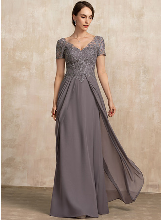 A-Line V-neck Floor-Length Chiffon Lace Evening Dress