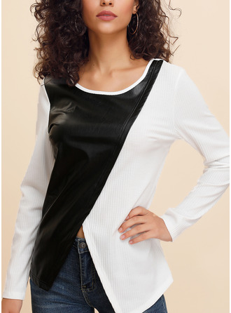 Color Block Round Neck 3/4 Sleeves Long Sleeves Casual