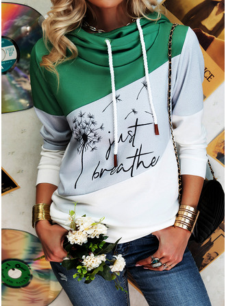 Color Block Print Dandelion Figure Long Sleeves Hoodie