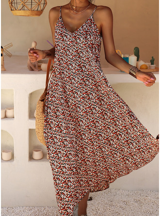Floral Print Shift Sleeveless Maxi Casual Vacation Dresses
