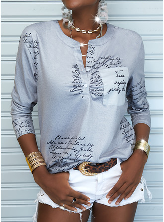 Print Letter V-Neck Long Sleeves Button Up Casual Blouses