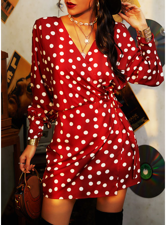 PolkaDot Sheath Lantern Sleeve Long Sleeves Mini Casual Elegant Wrap Dresses