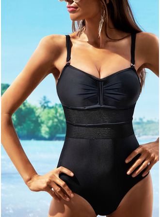 One-piece Chinlon Nylon Solid Color Women's Yes Swimwear
