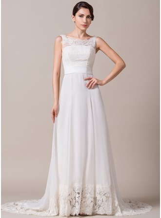 A-Line/Princess Scoop Neck Sweep Train Chiffon Lace Wedding Dress