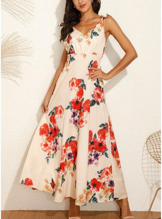 Floral Print A-line Sleeveless Maxi Party Sexy Vacation Skater Dresses