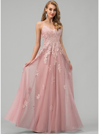 A-Line V-neck Floor-Length Tulle Evening Dress With Lace