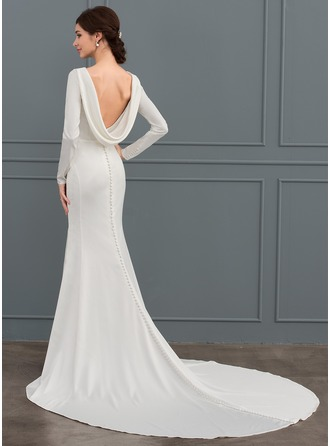 Trumpet/Mermaid Scoop Neck Chapel Train Stretch Crepe Wedding Dress