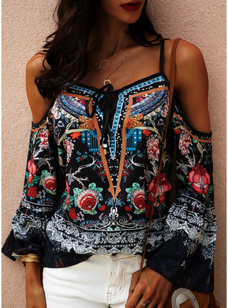Floral Print Cold Shoulder Flare Sleeve Long Sleeves Casual