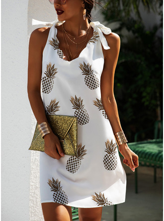 Print Shift Sleeveless Mini Casual Tank Dresses