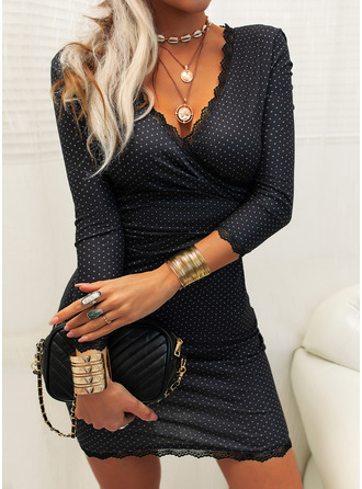 Lace Print Bodycon 3/4 Sleeves Mini Little Black Elegant Dresses